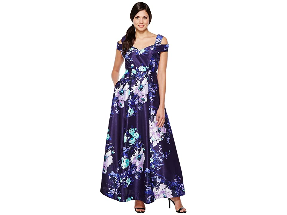 Sangria Cold Shoulder Floral Print Evening Gown with Pockets (Multi) Women