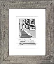 Malden International Designs Manhattan Distressed Mat Picture Frame, 5x7/8x10, Gray