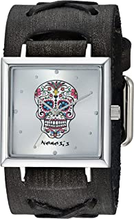 Nemesis SQ Sugar Skull Stainless Steel Analog-Quartz Leather Strap, Silver, 37.5 Casual Watch (Model: FXB955S)