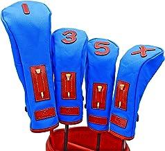 K& HC-TEE CLASSIC ヘッドカバーセット 栃木レザー(赤レンガ色)× 帆布(ブルー色) レザー×キャンバス