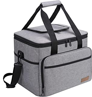 apollo walker Collapsible Soft Insulated 40-can Cooler Tote Extra Large Lunch Bag 30L with 2 Ice Packs-Roomy for Family Reunion, Work,Party, Beach, Picnics, Sporting Events(Grey)