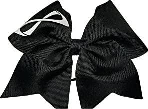 AZBOWS Cheer Bows Black Holographic with White Nfinity Infinity Hair Bow