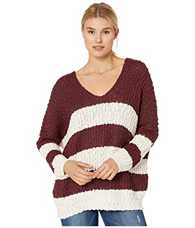 American Rose Cecily Long Sleeve Striped Sweater (Red Bean/Cream) Women