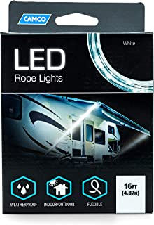 Camco LED 16' Rope Camper Interior and Exterior Lighting for Special Occasions and Outdoor Events, Fits Into Your RV Awning Track (53100)