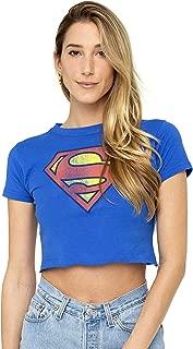 Superman Distressed Logo Supergirl Juniors Teen Girls Crop Top T Shirt & Stickers