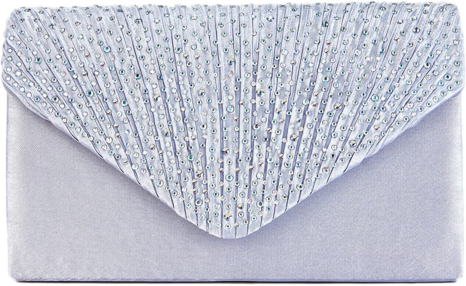 Charming Tailor Clutch Purse Evening Bag Envelope Diamante and Pleated Flap Handbag