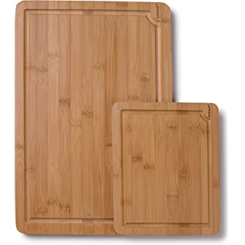 EatNeat Set of 2 Beautiful Thick Natural Bamboo Cutting Boards with Juice Grooves & Carrying Handles