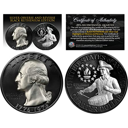 Black RUTHENIUM 2-Sided 1976 Bicentennial Quarter with Genuine SILVER Highlights