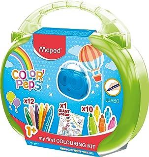 Maped Color'Peps Malette de Coloriage pour Bébé et Enfant dès 1 an – Kit Premier âge avec 10 Feutres Jumbo + 12 Craies de ...
