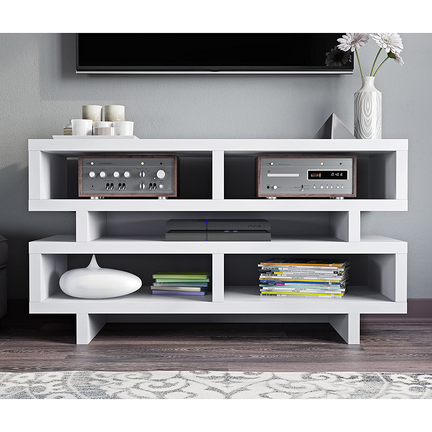 White Modern Geometric Multi Storage Media Compartment Shelf TV Stand Console Table