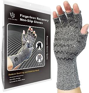 Vitale Salveo- Compressie Artritis Handschoenen met anti-slip voor pijnverlichting -Reumatoïde, Artrose Carpal Tunnel Aches (Paar) Fingeless-S/M Lichtgrijs