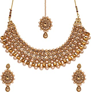 Traditional Wedding Gold Plated Jewellery Necklace Set With Earrings, Maangtikka For Women, Girls