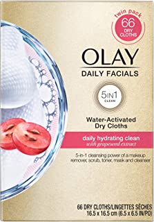 Olay Wipes, Daily Hydrating Facial Dry Cloths, 66 Count