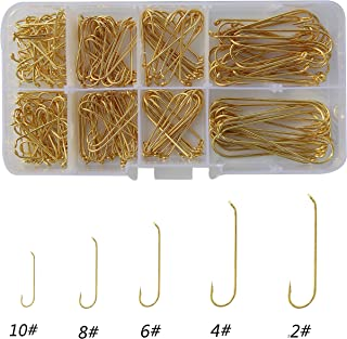 Shaddock Fishing 230pcs 79580 High Carbon Steel Fly Fishing Hooks Long Shank Streamer Tea Color Fly Tying Hooks Fishing Tackle Box Hook Set