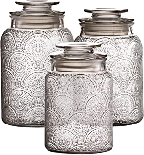 Style Setter Canister Set 3-Piece Jars in 1, 1.3 & 1.6 Liters Retro Design w/Airtight Glass Lids for Cookies, Candy, Coffe...