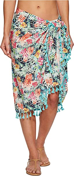 BSS1814 Woven Tropical Print Sarong Cover-Up