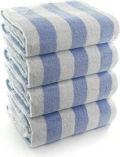 INDULGE Large Beach and Pool Towel, Cabana Stripe, 100% Turkish Cotton (30x60 inches, Blue, Set of 4)