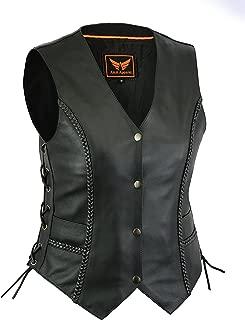 A&H Apparel Women Motorcycle Biker Classic Vest Genuine Cowhide Leather Vest With Gun Pocket (Large)