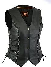A&H Apparel Women Motorcycle Biker Classic Vest Genuine Cowhide Leather Vest With Gun Pocket (Medium)