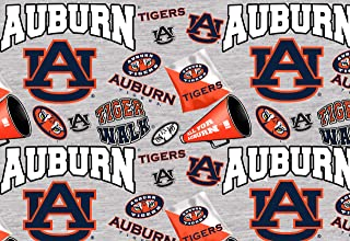 Auburn University Cotton Fabric with Mascots-Newest Pattern-NCAA Cotton Fabric