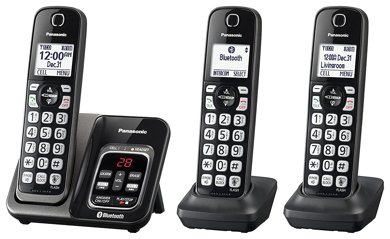 PANASONIC Expandable Cordless Phone System with Link2Cell Bluetooth, Voice Assistant, Answering Machine and Call Blocking - 3 Cordless Handsets - KX-TGD563M (Metallic Black)