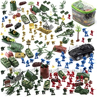 JaxoJoy 200-Piece Army Men Military Set - Cool Mini Action Figure Play Set w/ Soldiers, Vehicles, Aircraft & Boats - Prete...