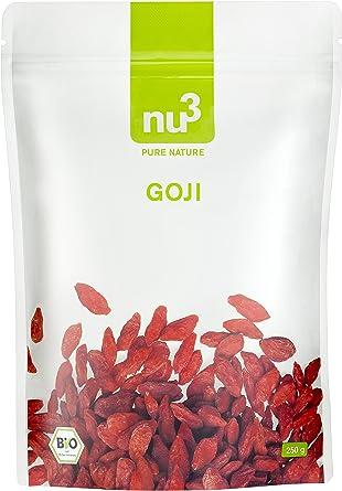 nu3 Bayas de Goji Premium 250g I Calidad orgánica comprobada I Cultivadas bajo control ecológico en China I Gran contenido de hierro y vitaminas I ...