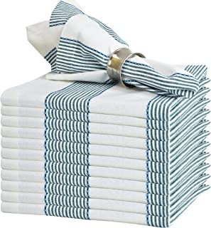 GLAMBURG Cloth Napkin 12-Pack 100% Ring Spun Cotton Dinner Napkin 18x18 with Mitered Corners and a Generous Hem, Cocktail Napkins, Wedding Dinner Napkins, Machine Washable - Teal