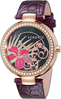 Versace Women's I9Q81D9HI S702 Mystique Rose Gold Ion-Plated Stainless Steel Violet Leather Band Diamond Watch