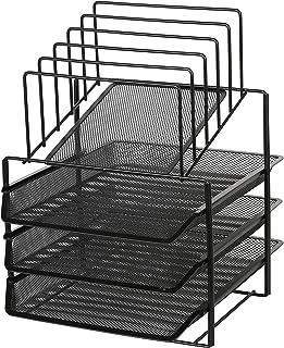 Exerz Desk Organizer Wire Mesh 3 Layer Sliding Letter Trays with 5 Upright Sections/Dividers/Paper Sorter/Desk Multifunctional File Holder Filing Shelves for Office, School Black (EX2428-BLK)
