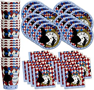 Alice in Wonderland Birthday Party Supplies Set Plates Napkins Cups Tableware Kit for 16 by Birthday Galore