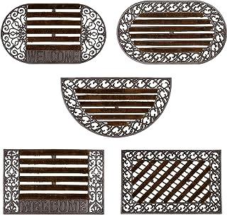 relaxdays Felpudo Redondo con cepillos para la Entrada del hogar, 4 x 72 x 39 cm, Hierro Fundido con Patas de Goma, Antide...
