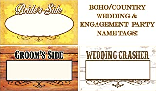 Wedding Name Tags, Name Badge Writable Stickers! Boho, Country Tags That Ignite Conversation & Keep Your Wedding Hip! (120 Pack)