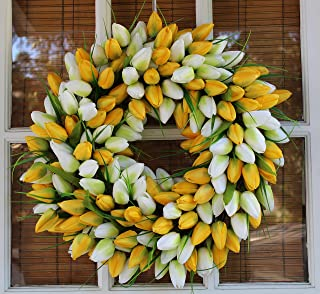 The Wreath Depot Yellow and White Tulip Summer Door Wreath 19 Inch, Beautiful White Storage Gift Box,