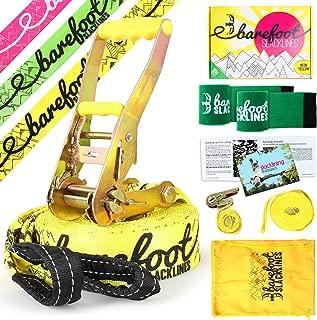 Barefoot Slacklines 49ft ( 15m )ラインComplete Set Including Slackline、ラチェット、トレーニングライン、Barkプロテクター&指示。3Fluro Colours Available ( Fluro Yellow )