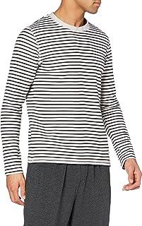 Marc O'Polo Body & Beach Men's Mix M-Shirt LS Crew-Neck Pajama Top, Natural, S