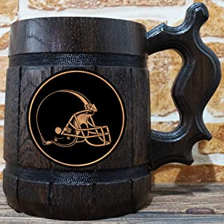 Cleveland Browns Beer Mug, American Football Wooden Beer Stein, NFL Sport Gift, Personalized Beer Stein, Cleveland Browns Tankard, Custom Gift for Men, Gift for Him