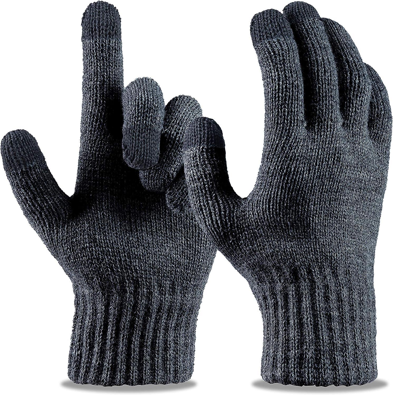 LIZEY Touchscreen Stretch Gloves Warm Knitted Texting Mitten Gloves for Women
