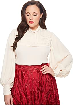 Unique Vintage - Plus Size Long Sleeve Annette Blouse