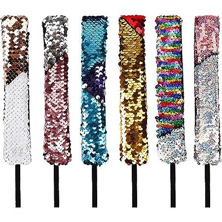 Fasce di paillettes Cute Hair Hoop Shiny Reversibile Non scivolare Stile sirena Decorazione di bomboniere 6 PCS per bambini Accessori per capelli