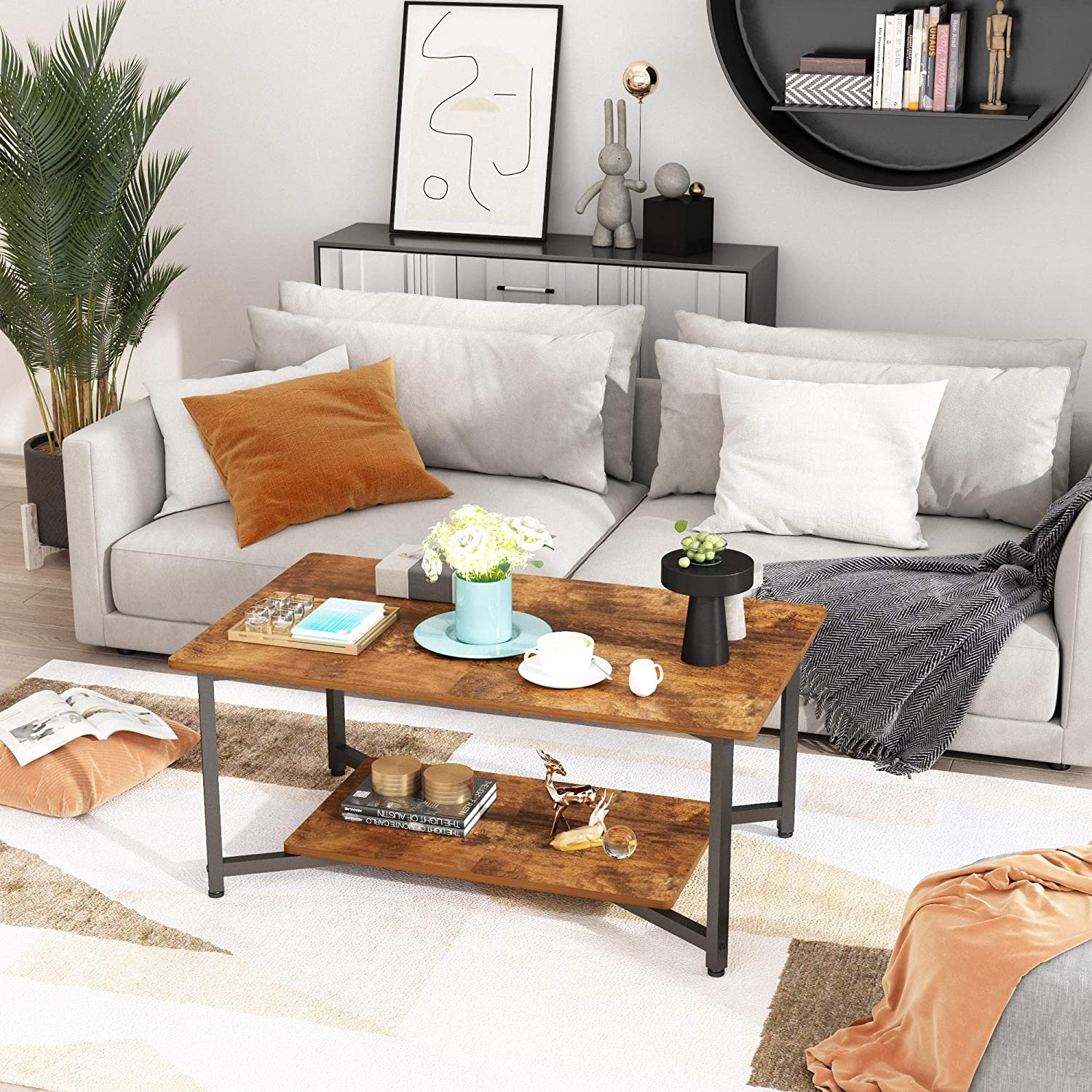 Vintage Oak Finish JOISCOPE Coffee Table with Open Shelf for Spacious Storage,2-Tier Coffee Desk,Industrial-Style Living Room Desk