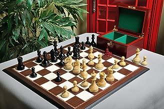 The House of Staunton The Mechanics Institute Chess Set, Box, Board Combination - Ebonized Boxwood