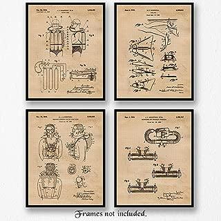 Original Scuba Patent Art Poster Prints, Set of 4 (8x10) Unframed Photos, Great Wall Art Decor Gifts Under 20 for Home, Office, Garage, Shop, Man Cave, Student Diver, Teacher, Coach, Diving Fan
