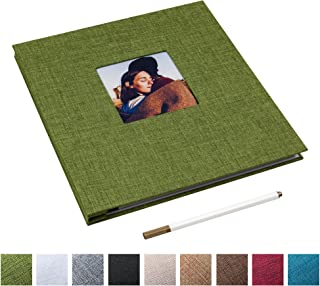 Self Adhesive Photo Album Magnetic Scrapbook Album 40 Magnetic Double Sided Pages Linen Hardcover DIY Photo Album Length 11 x Width 10.6 (Inches) with A Metallic Marker Pen (Green)
