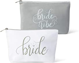 Canvas Makeup Bags for Bachelorette Parties, Weddings and Bridal Showers! (11 Piece Set, Grey - Bride Tribe)