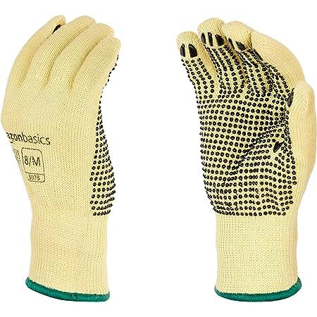AmazonBasics Cut Resistant Work Gloves, Cut Level A2, Plastic Dots Coated Grip, Size 8, M