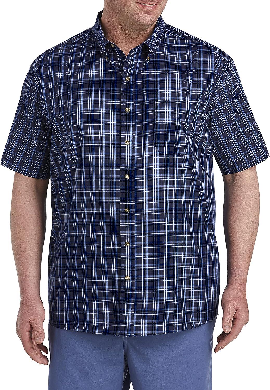 Harbor Bay by DXL Big and Tall Easy-Care Medium Plaid Sport Shirt