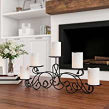Lavish Home 5 Candelabra with Classic Scroll Design-Handcrafted Iron Candle Holder/Centerpiece for Home Decor, Wedding, Ev...