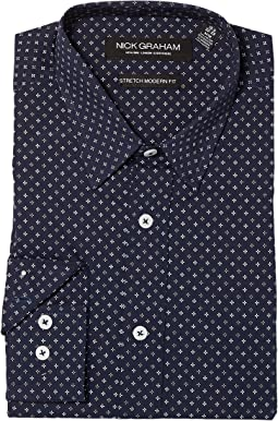 Nick Graham - Asterisk Print Stretch Dress Shirt