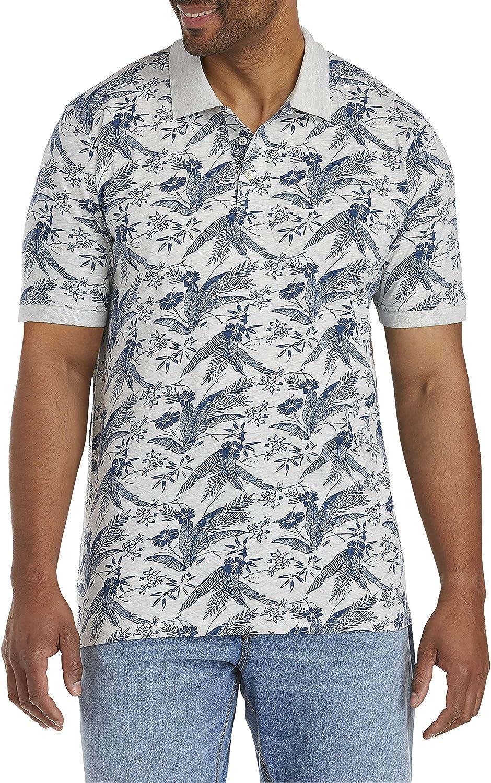 Harbor Bay by DXL Big and Tall Leaf Print Polo Shirt, Grey Multi